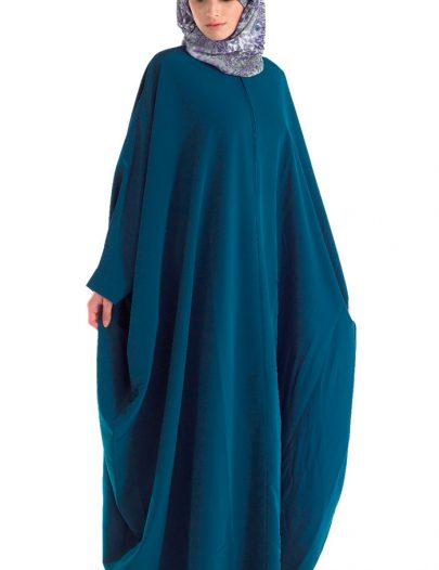 Kimono Irani Kaftan Abaya With Zipper Front Teal