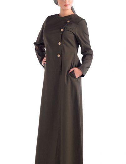 Front Open Cotton Jilbab Black