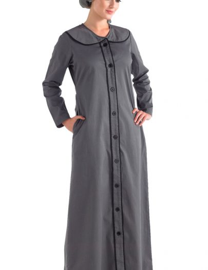 Front Open Jilbab Grey With Oversized Collar Black