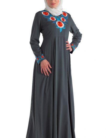 Fancy Crepe Abaya Grey