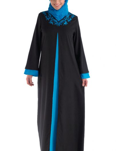 Peek-A-Blue And Black Abaya