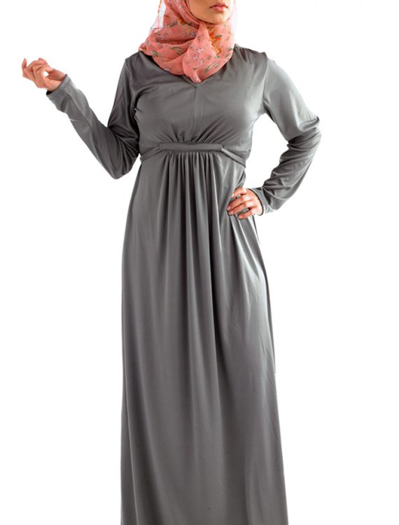 Back Tie Knit Abaya Grey