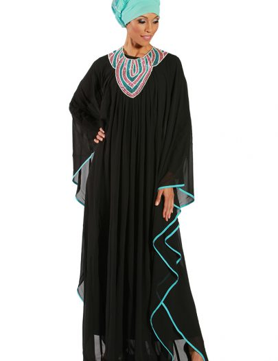 Latifa Georgette Abaya Black