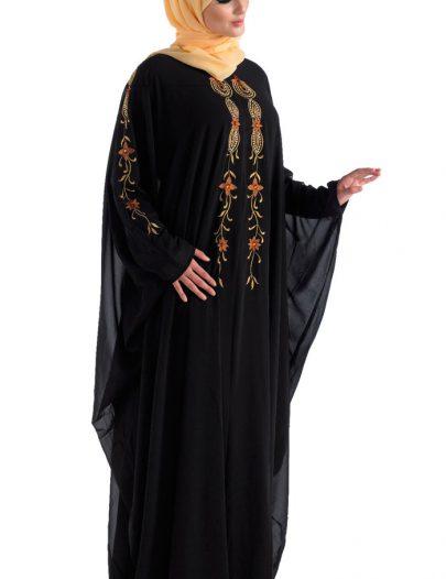 Hand Embroidered Black Kaftan For Celebrations Black