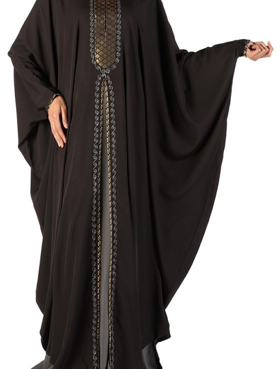 Asabi Two Piece Gold Embroidered Butterfly Style Kaftan Black