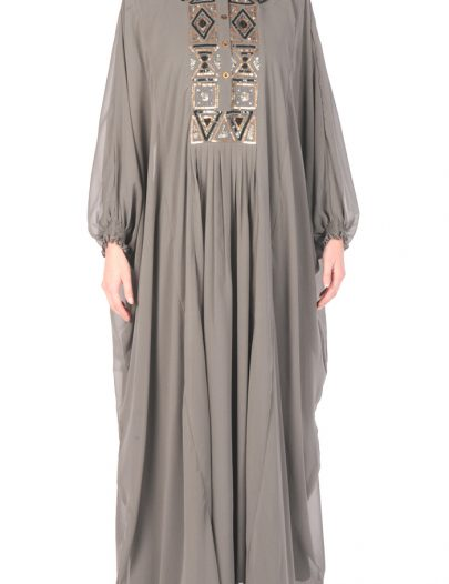 Arabian Sequin Georgette Kaftan Black