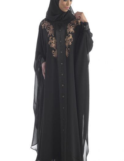 Georgette Kaftan Gown With Copper Embroidery Black