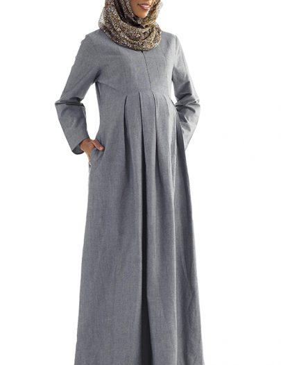 Hafiza Chambray Pleated Maternity Abaya Blue