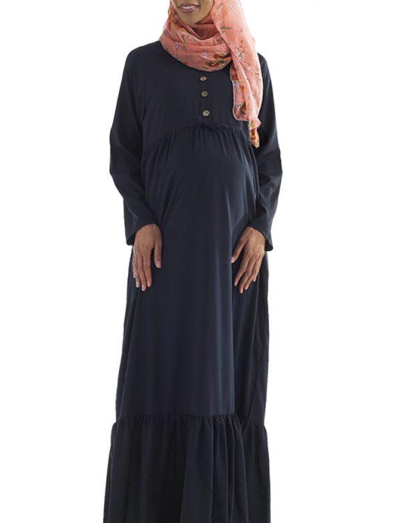 Basima Drawstring Maternity Abaya Black