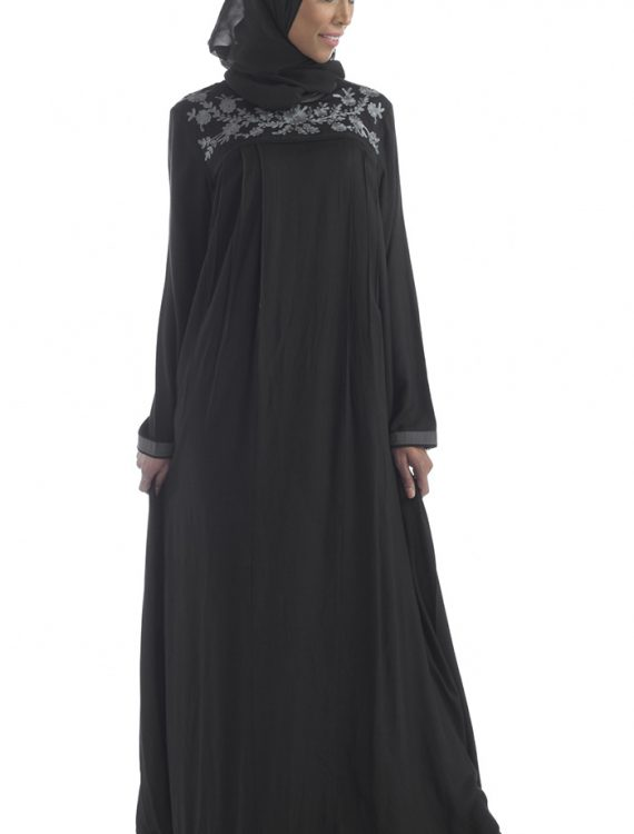 Black Rayon Abaya With Grey Stitching Black