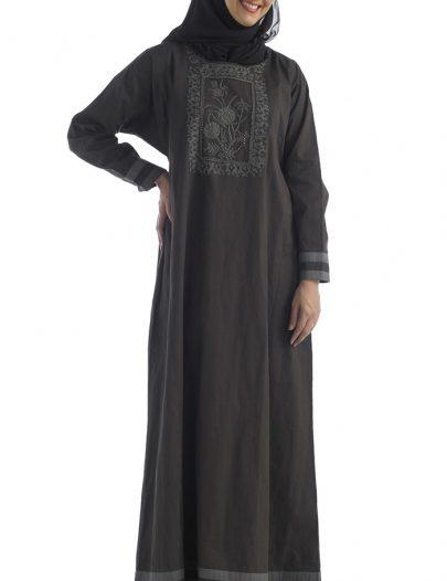 Khaki Twill Abaya Black