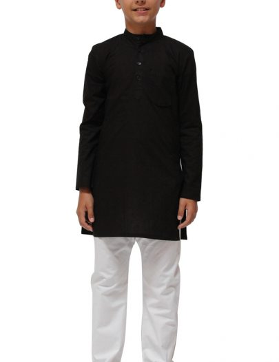 Boys Cotton Kurta Set Black