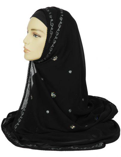 Black Hand Embroidered Georgette Hijab
