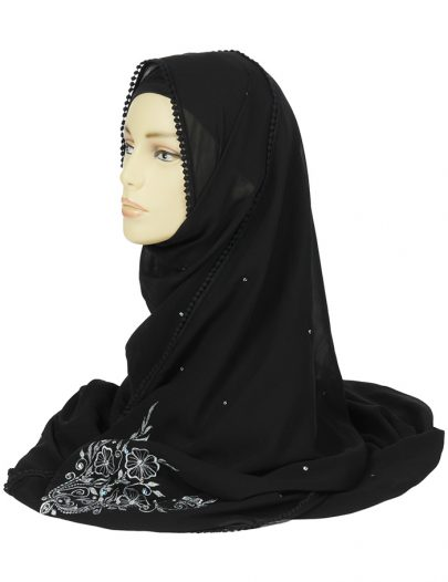 Silver Sequence Georgette Hijab