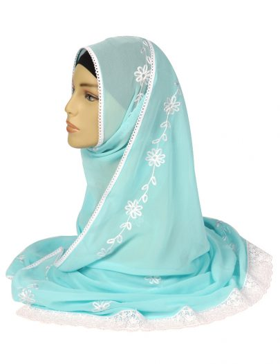 Baby Blue Laced Georgette Hijab