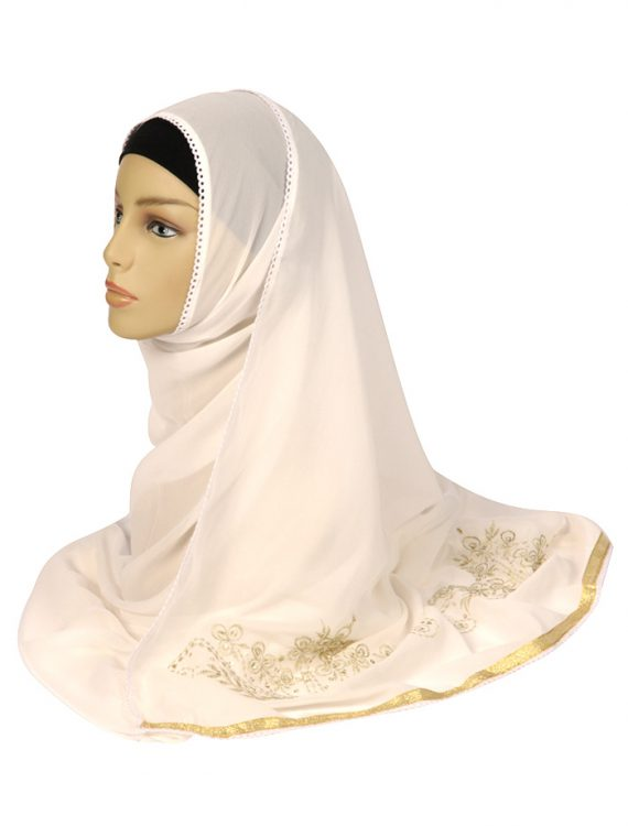 White Georgette Hijab With Gold Embroidery