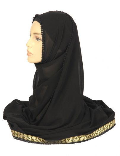 Black Georgette Hijab Wth Gold Embroidery