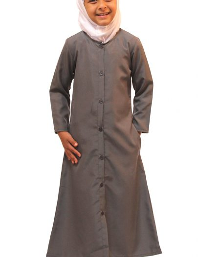 Girls Kashibo Button Down Uniform Abaya Dark Grey