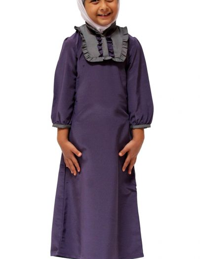 Young Girls Trendy Ruffle Abaya Violet