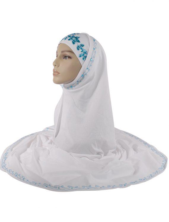 White And Blue Sequin Al-Amirah Hijab