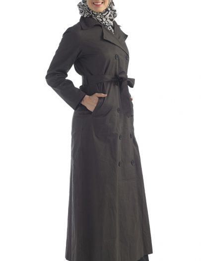 Black Cotton Twill Jacket Belted