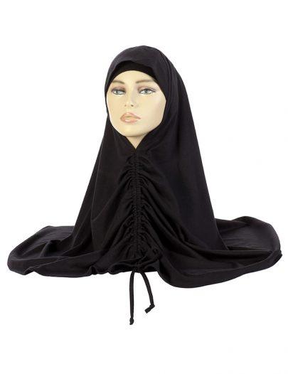 Black Cotton Drawstring Hijab