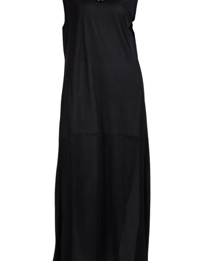 Sleeveless Full Length Black Lace Polyester Undergrment Slip Black