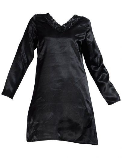 Lace Long Sleeve Satin Under Dress Slip Top Long Length Black