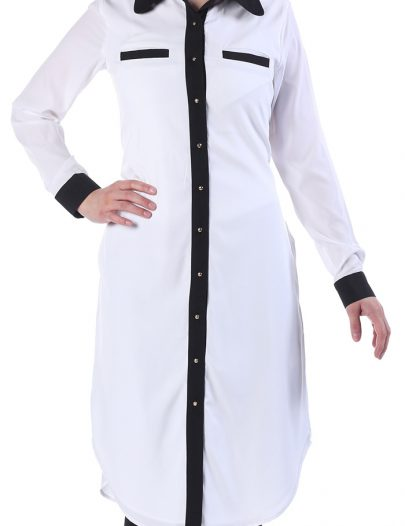 Taba Butterfly Collar Tunic White