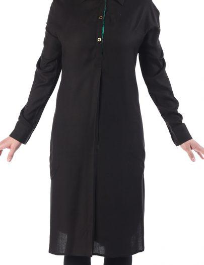 Wafia Butterfly Collar Rayon Tunic Black