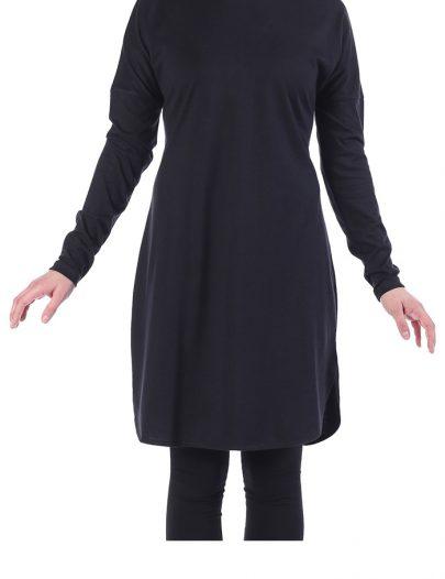 Cotton Knit Modest Length T-Shirt Black