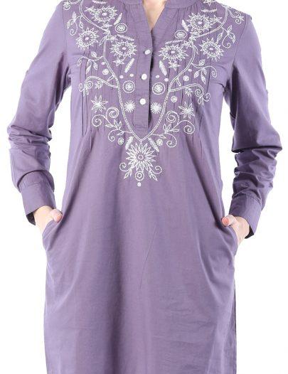 Tahiyat Embroidered Tunic Light Purple