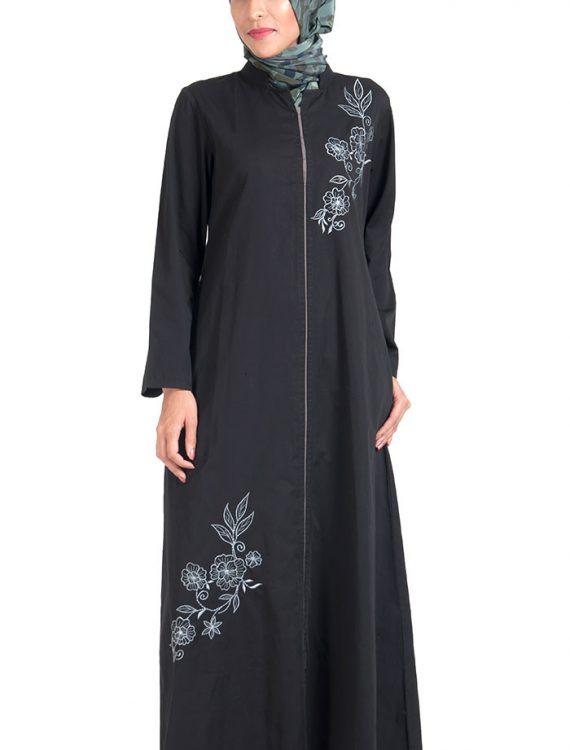 100% Cotton Twill Zipper Long Tunic Black