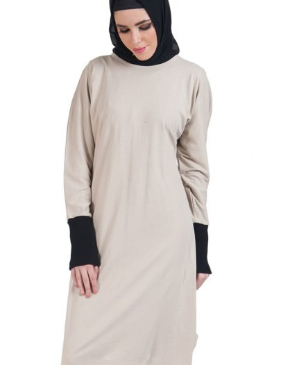 Slip On Color Block Cotton Knit Tunic Sand