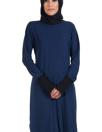 Slip On Color Block Cotton Knit Tunic Navy
