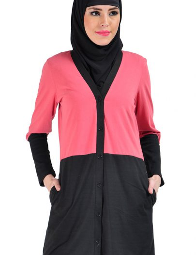Color Block Cotton Knit Cardigan Pink