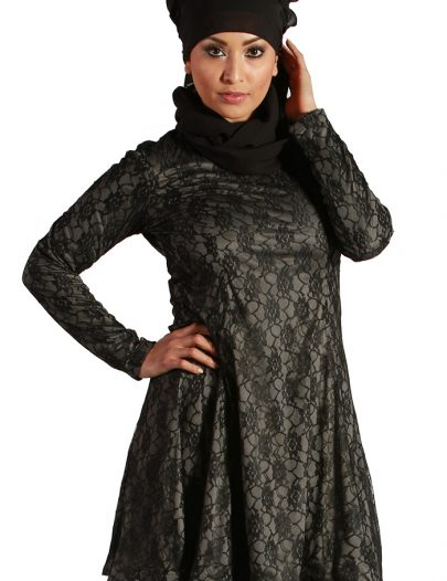 All Over Lace Kurti Grey
