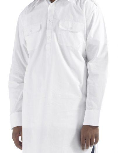 White Cotton Tab Shirt White