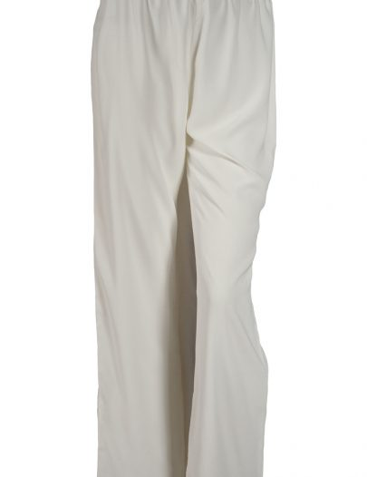 White Wide Leg Crepe Pants