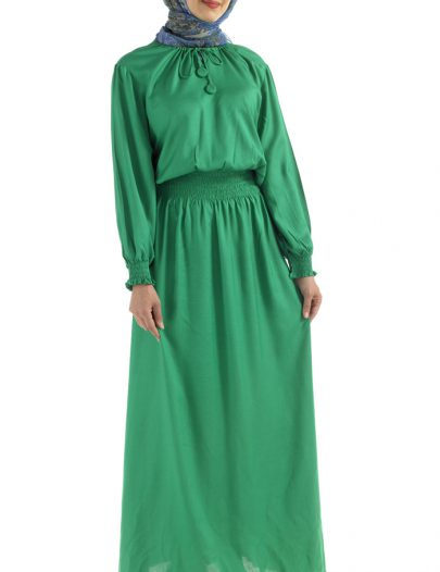 Colorful Stretch Waist Abaya Black