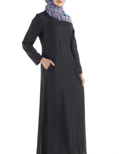 Basic Everyday Rayon Abaya Black