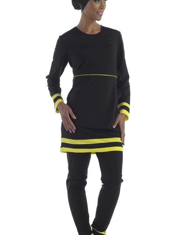 Yellow And Black Swimwear Round Neck
