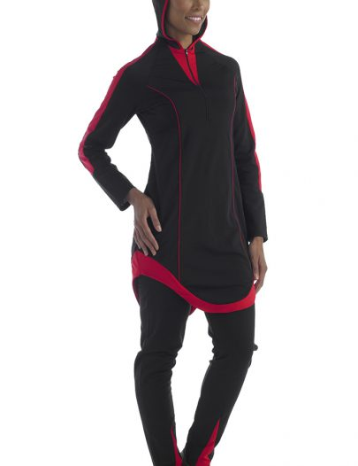 Poly Knit Red And Black Swimwear Hood Attached
