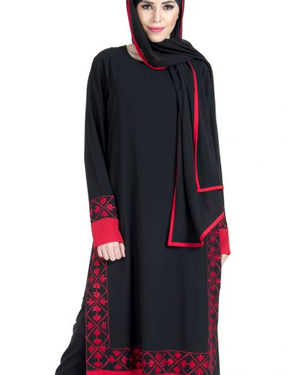 Embroidered Red And Black Salwar Kameez Dress Set