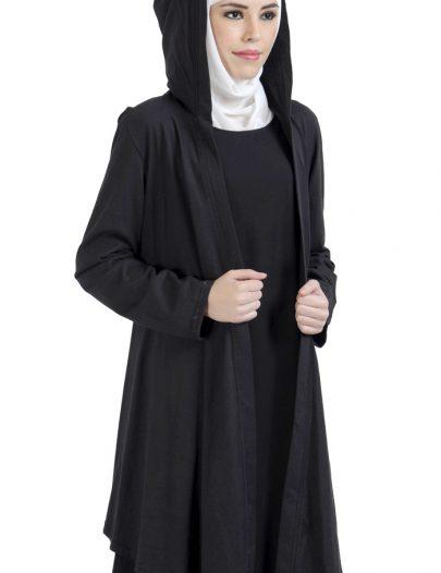 Front Open Hoodie- Cardigan-Black