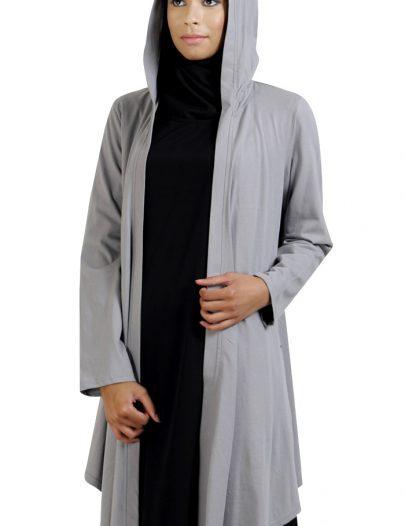 Front Open Hoodie- Cardigan-Grey