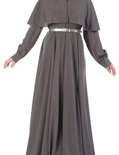 Designer Cape Style Belted Abaya Grey