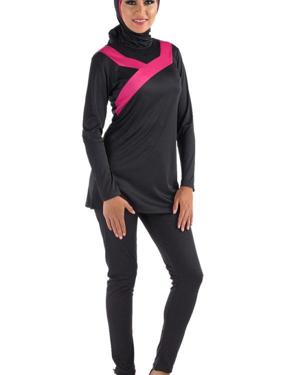 Ahmar Burqini Swim Set Black With Pink Trim