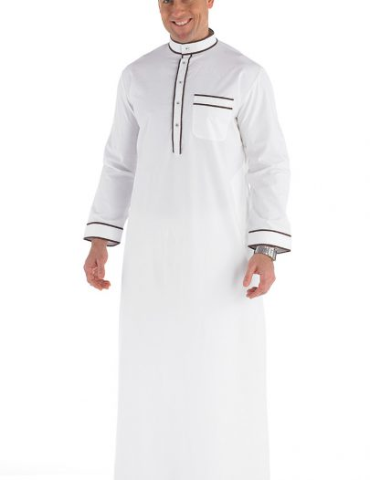 Arham Men's Jubba Dishdasha White