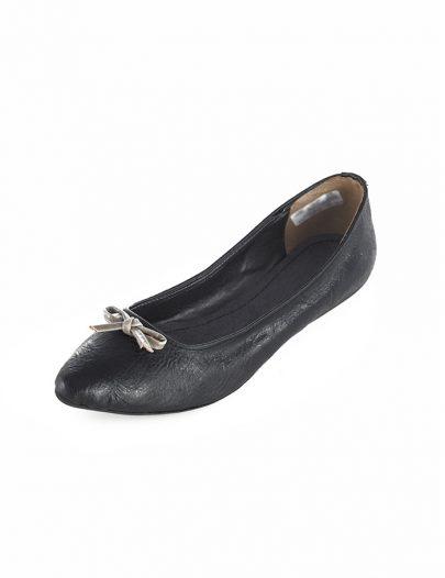 Black Leather Ballerina Flat